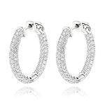 14K Gold Small Inside Out Diamond Hoop Earrings by