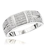 14K White Gold Diamond Ring Round Princess Diamond