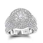 Vintage Round Diamond Engagement Ring 14K White Go