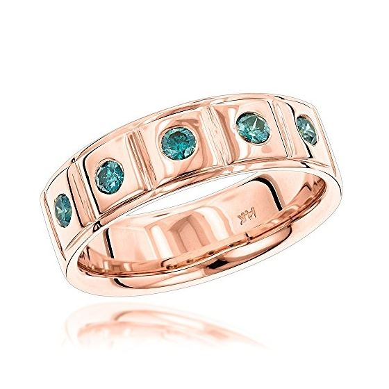 LUXURMAN Rings: 5 Blue Diamond Wedding Band for Me