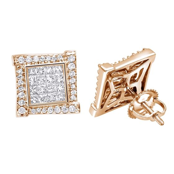 59d6a94a17b115 14K Rose, White Or Yellow Gold Round Princess Cut Diamond Earrings Square  Studs 1Ctw. IC406971_ro