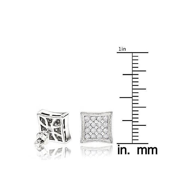 14K White Gold Round Cut Pave-Set Diamond Earrings