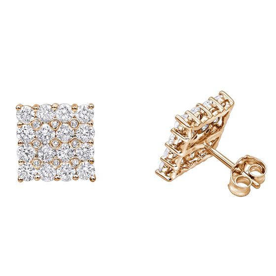 7d5c0f34c14226 14K Rose, White Or Yellow Gold Square Shape Round 2 Carats Diamond Earrings  Studs G-H Color. IC803071_ro