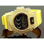 Ice Plus Mens Diamond Shock Style Watch Yellow Case Yellow Band 1