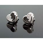 .925 Sterling Silver White Heart White and Black Onyx Crystal Micro Pave Unisex Mens Stud Earrings 1