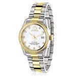 Ladies Luxurman Tribeca Two Tone Genuine Gold Plated Real Diamond Watch 1.5ct 1