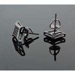 .925 Sterling Silver Black Square Black Onyx Crystal Micro Pave Unisex Mens Stud Earrings 7mm 3