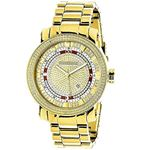 Unique Large Mens Real Diamond Watch 18k Yellow Gold Plated 0.12ct by Luxurman 1