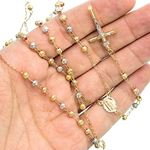 14K 3 TONE Gold HOLLOW ROSARY Chain - 28 Inches Long 4.04MM Wide 3