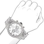Mens Genuine Diamond Watch 1.25ct Chronograph White Mother of Pearl by Luxurman 3