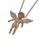 """Silver Rose Wings Angel Pendant with 24"""" Moon Cut Chain 1"""