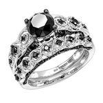 Black Diamond Sterling Silver Antique Engagement R