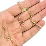 14K 3 TONE Gold HOLLOW ROSARY Chain - 18 Inches Long 3MM Wide 3