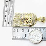 Mens 10k Yellow Gold Jesus head with stones Pendant 3