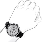 Luxurman Watches Black Diamond Watch 3ct Silver Case and a Black Leather Band 3