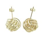 Ladies 10K Solid Yellow Gold love knot earrings 2 12mm 1