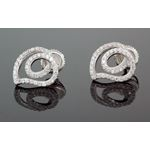 .925 Sterling Silver White Heart White Crystal Micro Pave Unisex Mens Stud Earrings 1