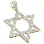 Mens 10k Yellow gold Star of david gold cz pendant GCHA33 1