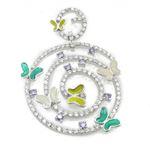 Ladies .925 Italian Sterling Silver Round Multi Stone Butterfly Pendant Length - 2.24in Width - 1.54