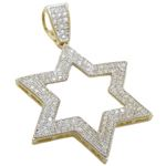 Mens 10k Yellow gold Outer star of david gold cz pendant GCHA34 1