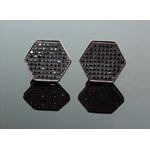 .925 Sterling Silver Black Hexagon Black Onyx Crystal Micro Pave Unisex Mens Stud Earrings 13mm 1