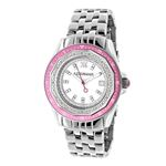 Luxurman Womens Real Diamond Pink Watch  90690 1