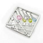 Ladies .925 Italian Sterling Silver Square Multi Stone Dangle Pendant Length - 1.18in Width - 1.18in