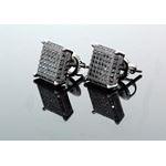 .925 Sterling Silver Black Square Black Onyx Crystal Micro Pave Unisex Mens Stud Earrings 10mm 1