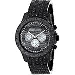 Fully Iced Out Large Mens Black Genuine Diamond Watch 1.5ct LUXURMAN Chronograph 1
