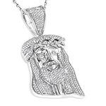 Mini Diamond Jesus Head Pendant in Sterl 79241 1