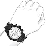 Genuine Mens Black Diamond Watch by Luxurman 2.25ct White Mother Of Pearl 3