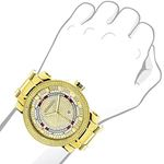 Unique Large Mens Real Diamond Watch 18k Yellow Gold Plated 0.12ct by Luxurman 3