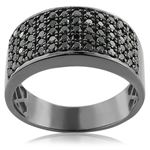 Designer Ring 10K Rhodium Plated Gold Black 1.6 Ct