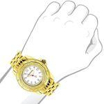 Womens Genuine Diamond Watch 0.25ct Yellow Gold Luxurman MOP Leather Strap 3