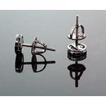 .925 Sterling Silver Black Circle Black Onyx Crystal Micro Pave Unisex Mens Stud Earrings 6mm 3