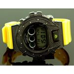 Ice Plus Mens Diamond Shock Style Watch Black Case Yellow Band 1