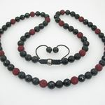Mens Beaded Rosary Chain Crystal Gemstone Bracelet Ball Pave Macrame Necklace Red and Black Rosary 1