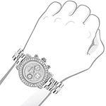 Ladies Diamond Watch Silver Tone 3ct Lux 89976 3