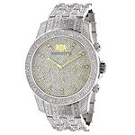 Luxurman Wrist Watches Mens Diamond Watch 1.25ct Polished Silver Stainless Steel 1
