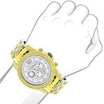 Mens Diamond Watches: Raptor Yellow Gold Plated-3