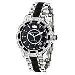 Luxurman Galaxy Midsize Real Diamond Watch Black Ceramic 1.25ct Leather Band 1