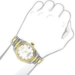 Ladies Luxurman Tribeca Two Tone Genuine Gold Plated Real Diamond Watch 1.5ct 3