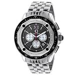 Centorum Real Diamond Watch Mens White MOP Chronograph Falcon 0.55ct Silver Tone 1
