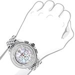 Centorum Real Diamond Watches: Mens Midsize Falcon 0.55ct Chronograph White MOP 3