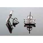 .925 Sterling Silver Black Kite Black Onyx Crystal Micro Pave Unisex Mens Stud Earrings 12mm 3