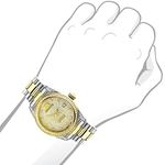 Womens White Yellow Gold Plated Diamond Watch Two Tone Luxurman Tribeca 1.5ct 3