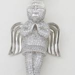 Praying angel white silver cz pendant SB60 79mm tall and 40mm wide 3