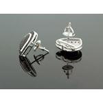 .925 Sterling Silver Black Heart Black Onyx Crystal Micro Pave Unisex Mens Stud Earrings 13mm 3