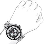 Centorum Real Diamond Watch Mens White MOP Chronograph Falcon 0.55ct Silver Tone 3