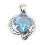 Ladies .925 Italian Sterling Silver fancy pendant with blue stone Length - 20mm Width - 14mm 1
